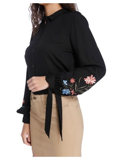 Black Embroidered Sleeves Shirt