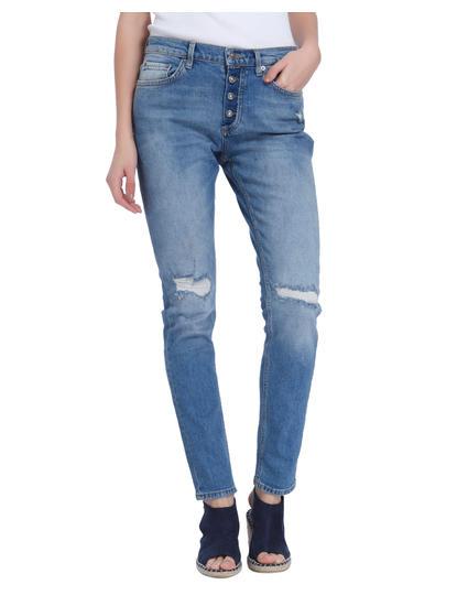 Dark Blue Button Down Slim Jeans
