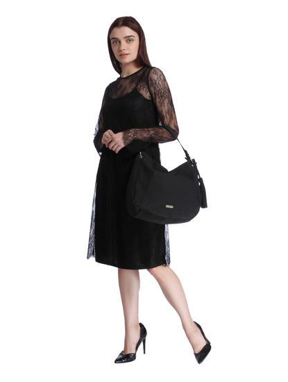 Black Sheer Lace Midi Dress