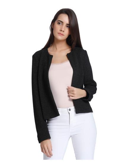 Black Slim Fit Short Blazer