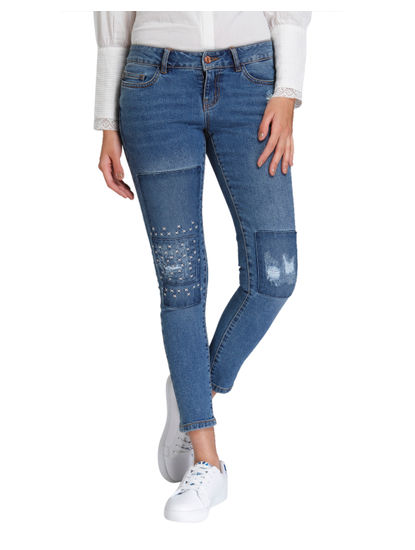 Blue Patchwork Regular Waist Straight Fit Jeans