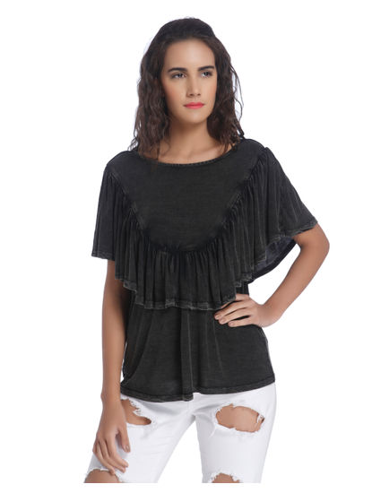 Dark Grey Ruffle Top