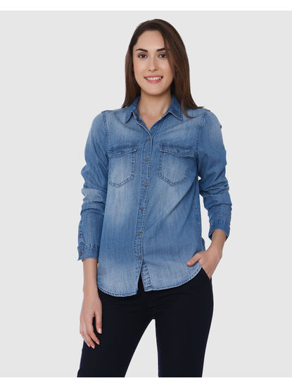 Blue Loose Fit Denim Shirt