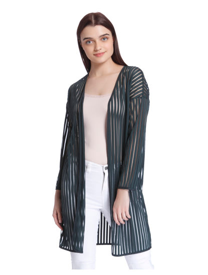 Green Striped Sheer Cardigan