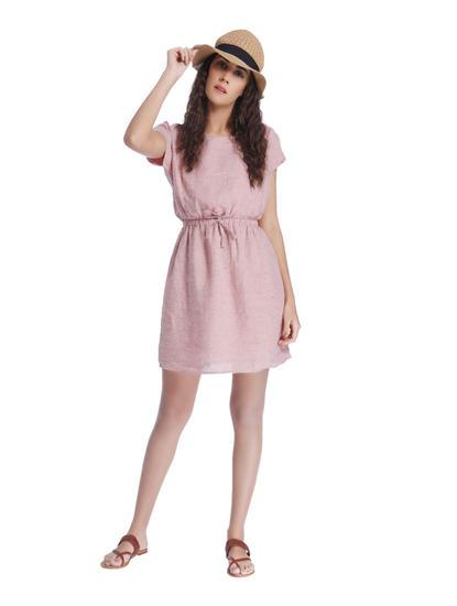 Coral Linen Mini Dress