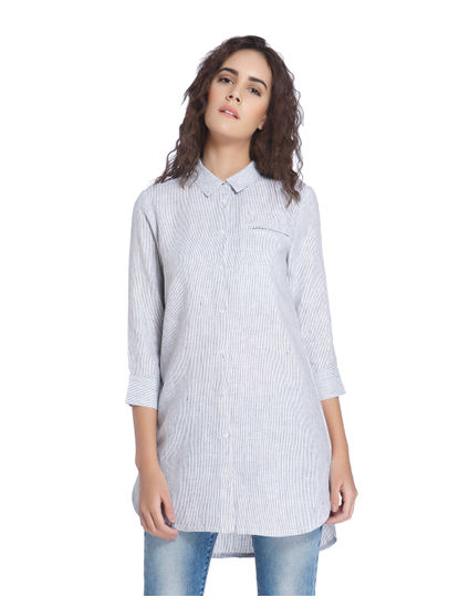 Grey Linen Long Shirt