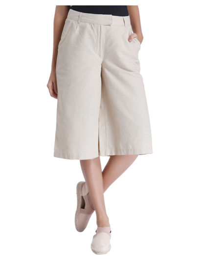 Beige Linen Culottes