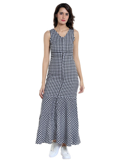 Black And White Gingham Maxi Dress