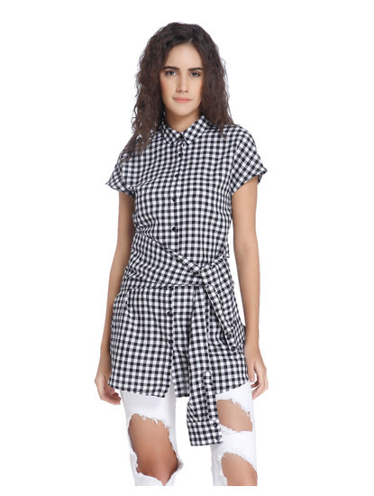 Gingham Long Black Shirt
