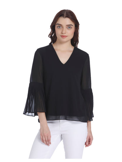 Black Flared Sleeves Top