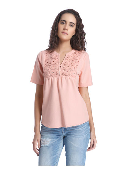 Coral Linen Top with a Lace Yolk