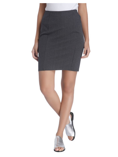Formal Grey Pencil Skirt