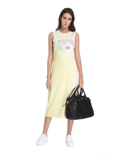 Yellow Graphic Print Midi Dress