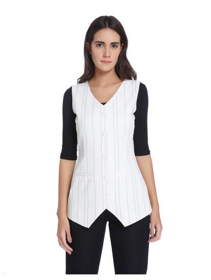 White Striped Waistcoat