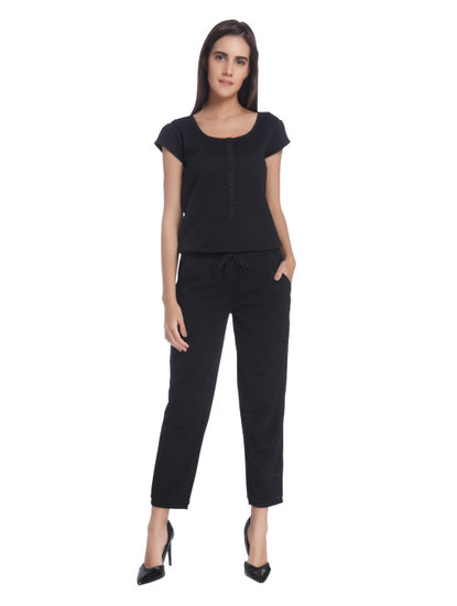 Black Cap Sleeves Jumpsuit