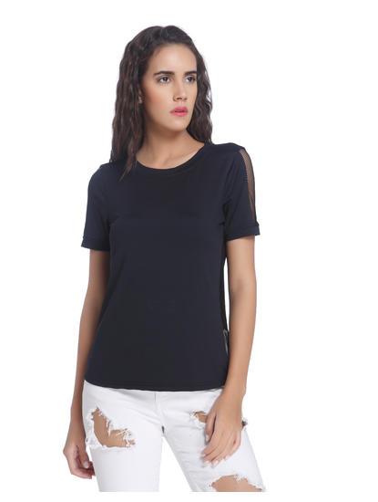Black Mesh Detail T-Shirt