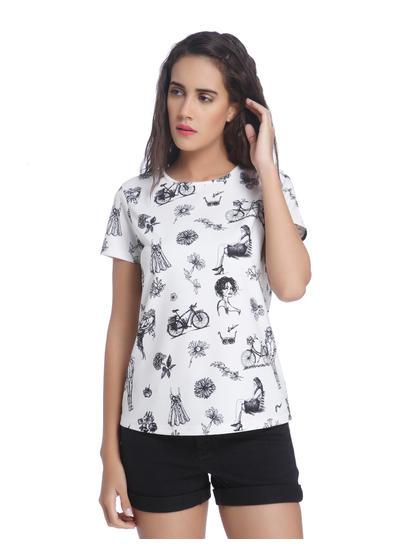 White All Over Print T-Shirt