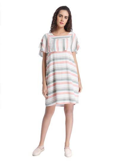 White Striped Ruffle Dress