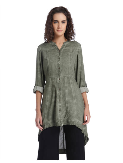 Green Over Dyed Long Shirt