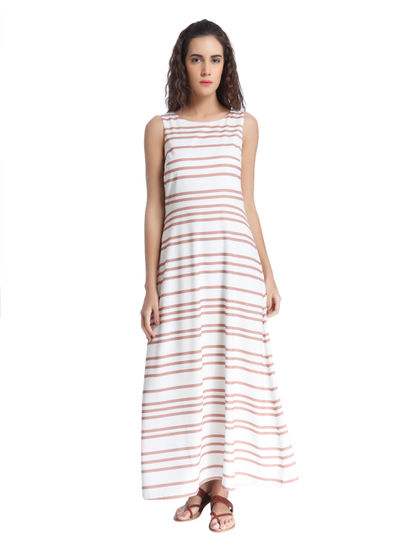 White Horizontal Striped Maxi Dress