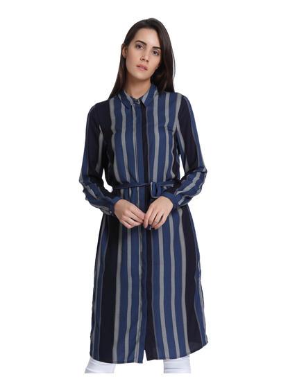 Black & Blue Striped Long Shirt