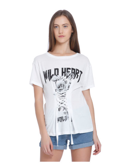 White Graphic Print Lace Up T-Shirt