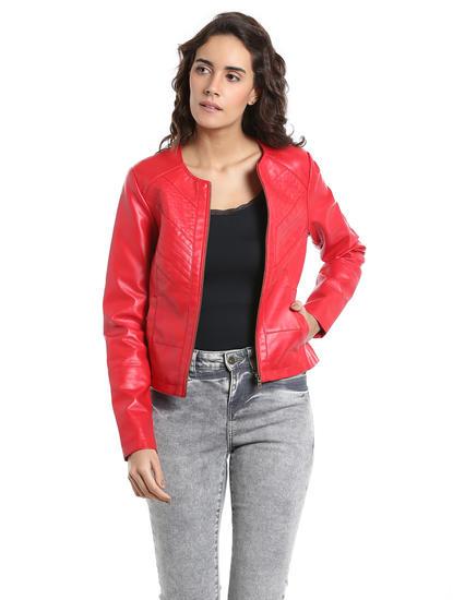 Red PU Biker Jacket
