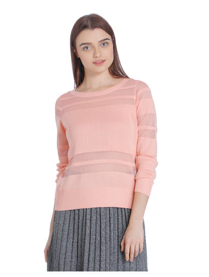 Peach Mesh Insert Sweatshirt