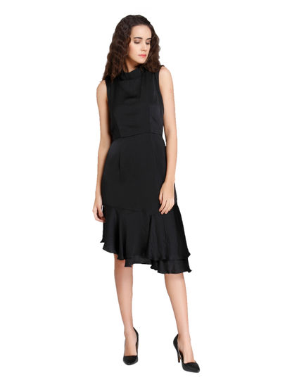 Black Frill Detail Fit & Flare Dress