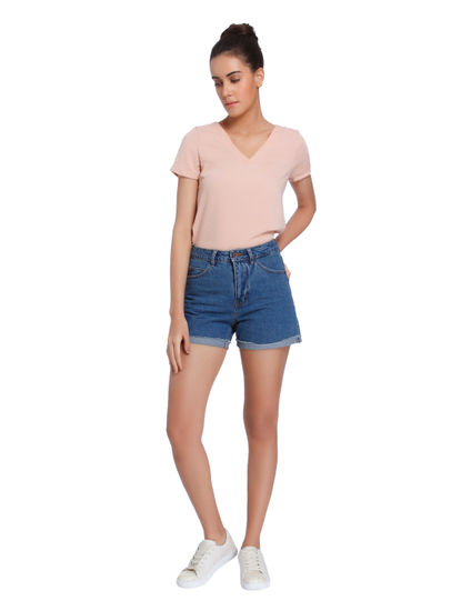 Blue High Rise Denim Shorts