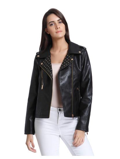Black Studded PU Biker Jacket