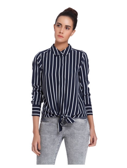 White Striped Knot Shirt