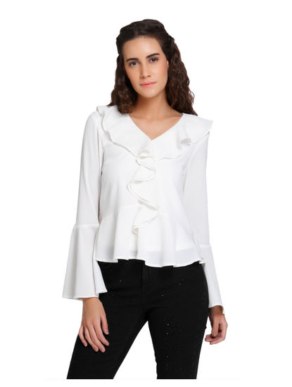 White Frill Detail Flared Sleeves Top