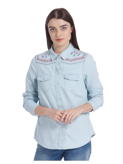 Light Blue Embroidered Denim Shirt
