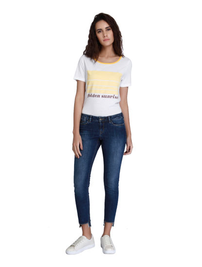 Blue Low Waist Regular Fit Ankle Length Jeans