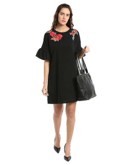 Black Embroidered Ruffle Sleeves Shift Dress