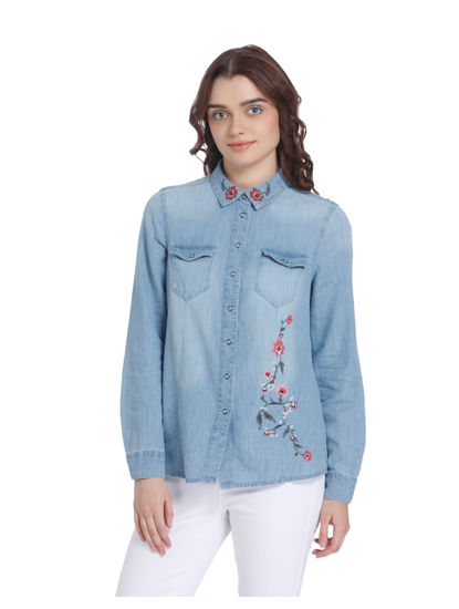 Light Blue Floral Embroidered Denim Shirt