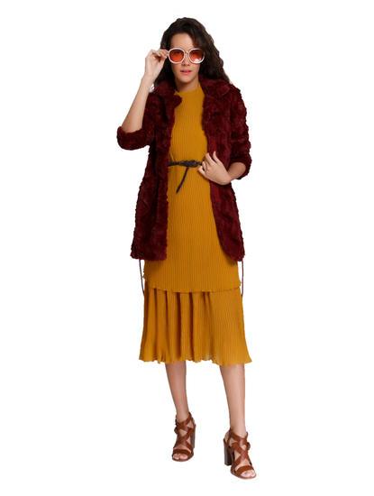 Mustard Tiered Midi Dress