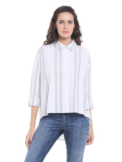 White Striped High Low Shirt