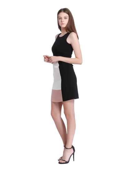 Black Colour Blocked Shift Dress