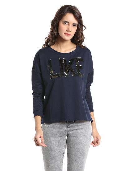 Dark Blue Sequin Detail Sweatshirt