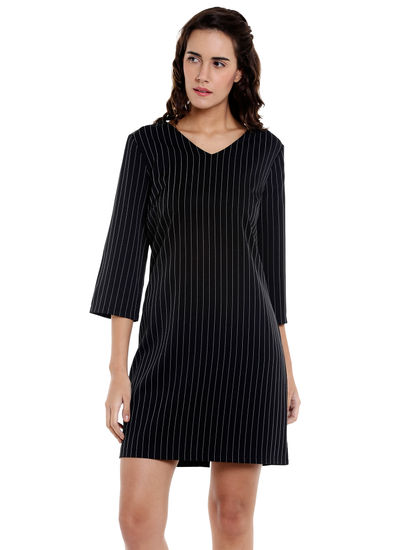Black Pinstriped Shift Dress