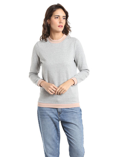 Light Grey Colour Blocked Sweatshirt
