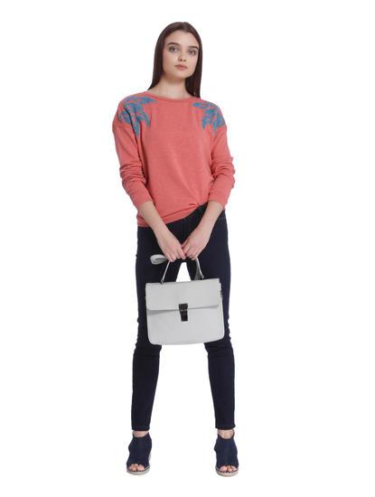 Pink Embroidered Sweatshirt