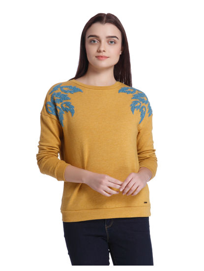 Mustard Embroidered Sweatshirt