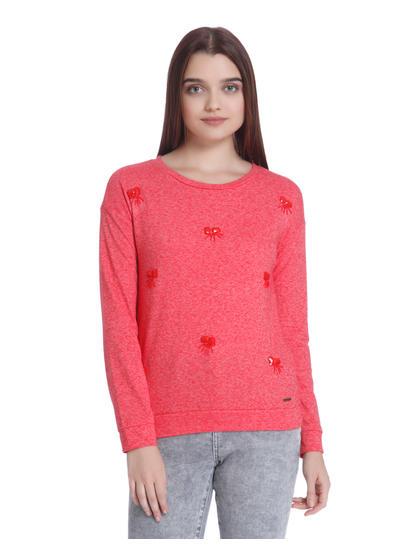 Red Embellished Sweatshirt