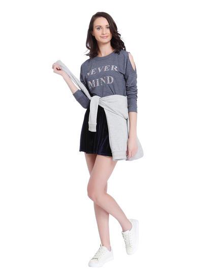 Blue Slogan Print Cold Shoulder Sweater