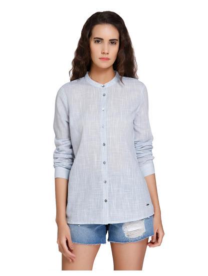 Blue Mandarin Collar Shirt