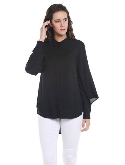 Black Slit Sleeves Shirt