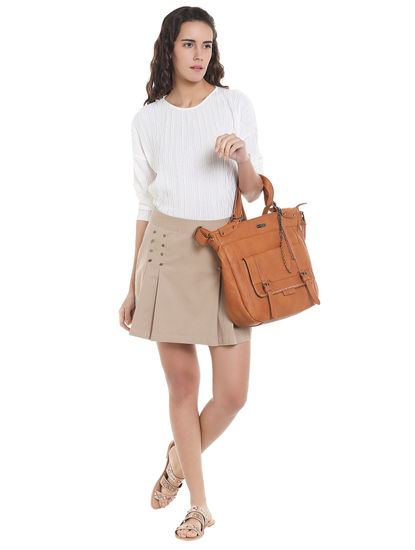 Beige Button Detail Mini Skirt